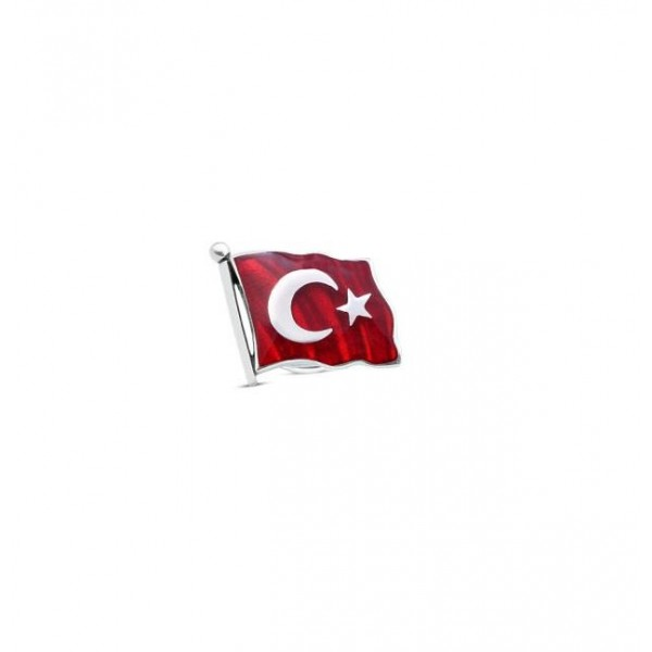 Pigado 925 Ayar Gümüş Kırmızı Mineli Türk Bayrağı Rozet