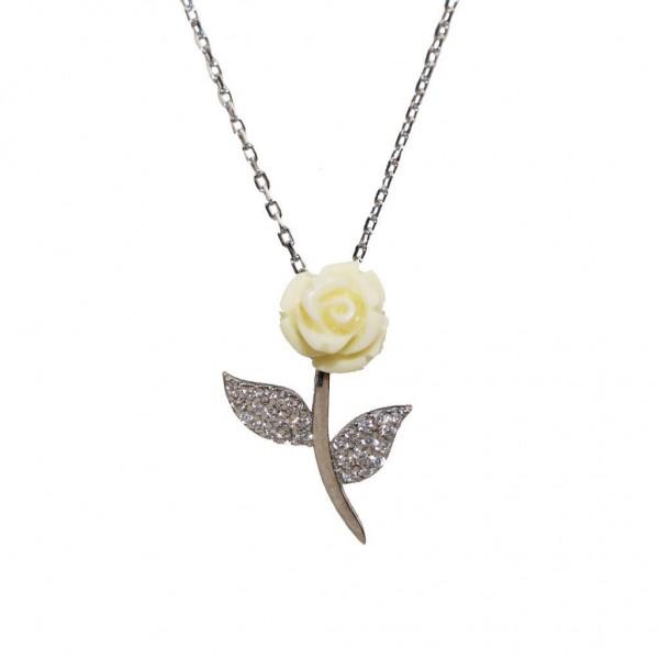 Pigado 925 Ayar Gümüş Zirkon Taşlı Özel Tasarım Beyaz Gül Kolye