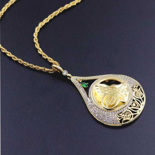 Pigado Altın Kaplama Zirkon Taşlı Tuğra Desenli Madalyon Kolye