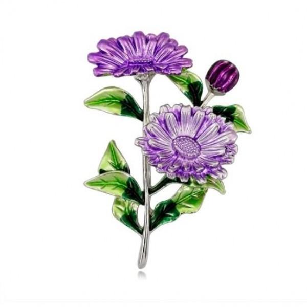 Pigado Bayana Özel Mor Çiçek Aksesuar Broş