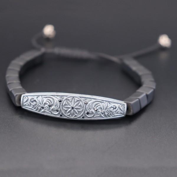 Pigado Özel Tasarım Gümüş Oniks Taşlı Makrome Bileklik