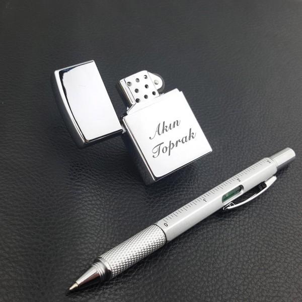 İsme Kişiye Özel Gazlı Çakmak ve 6 Fonksiyonlu Kalem Seti