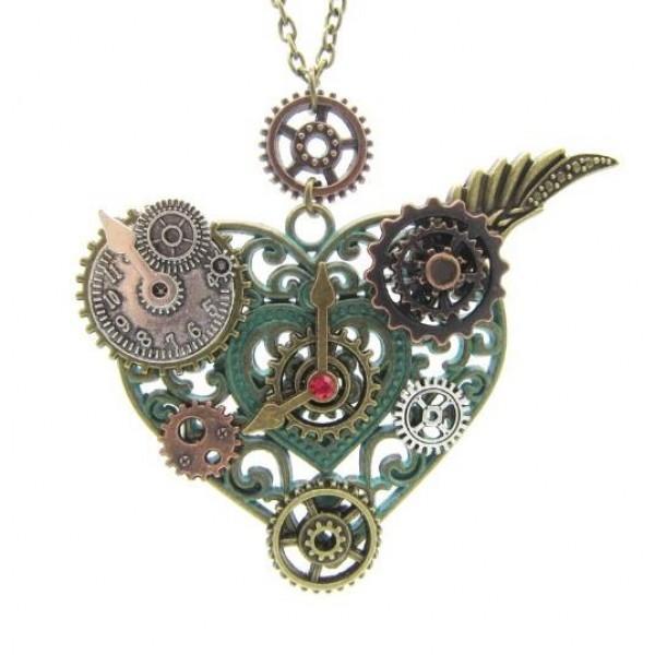 Pigado Metal Zirkon Taşlı Otantik Saat Tasarımlı Vintage Çarklı Kalpl...