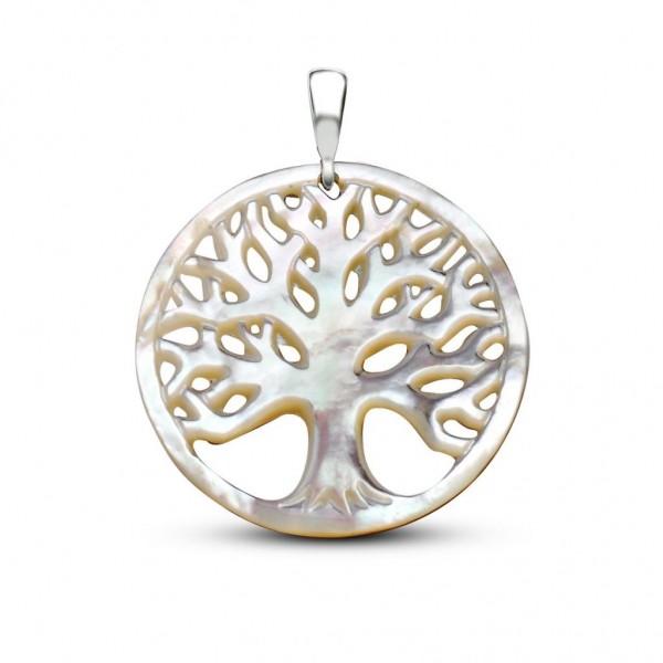 Sedef Yapım Hayat Ağacı Kolye (Gümüş Zincirl...