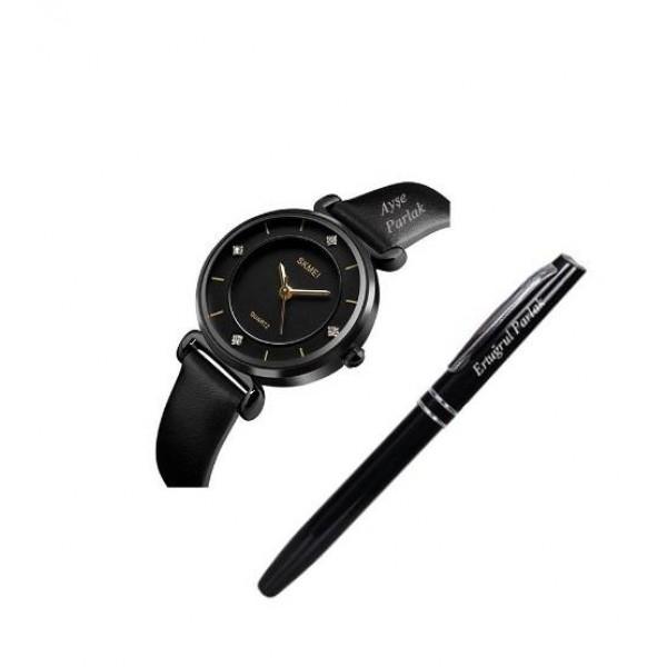 İsme Özel Skmei Siyah Bayan Kol Saati + Kalem Hediyeli