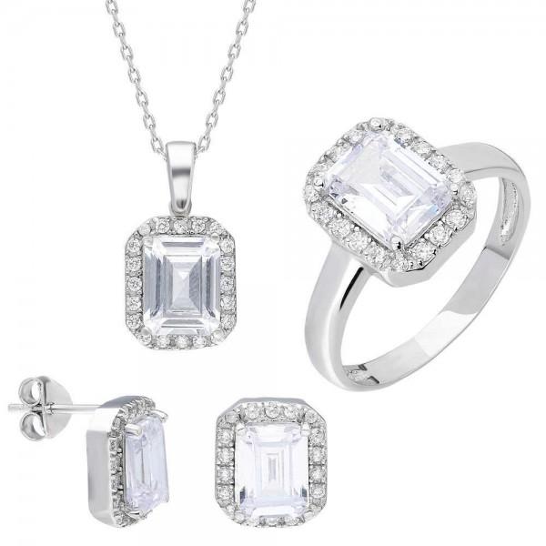 Starlight Diamond Montür Baget Taşlı Gümüş 3'lü Takı Seti