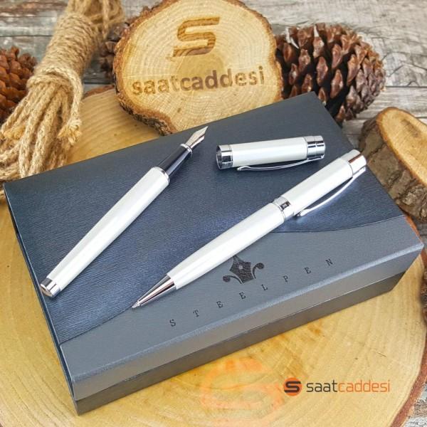 Steel Pen Beyaz Metal Kalem Seti