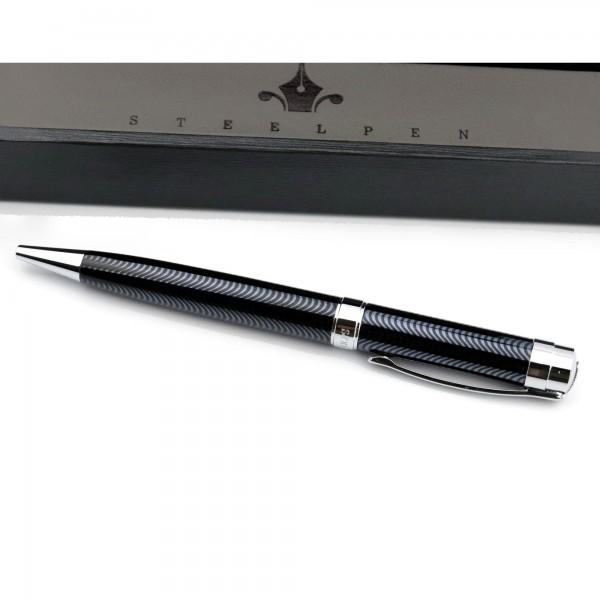 Özel Kutulu Steel Pen Desenli Siyah Tükenmez Kalem