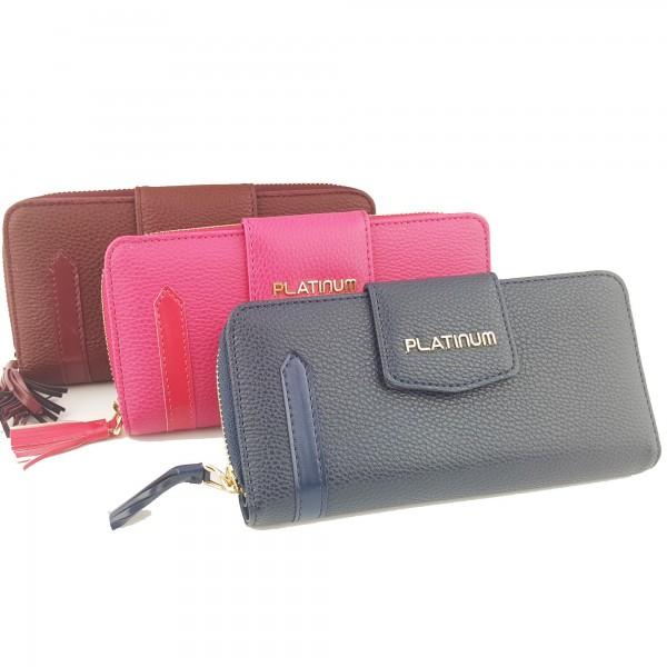 Üç Renk Çıtçıtlı ve Fermuarlı Deri Platinum Bayan Cüzdanı