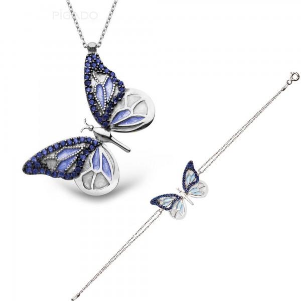 Zirkon Taşlı 925 Ayar Gümüş Mavi Kelebek Bileklik & Kolye Seti