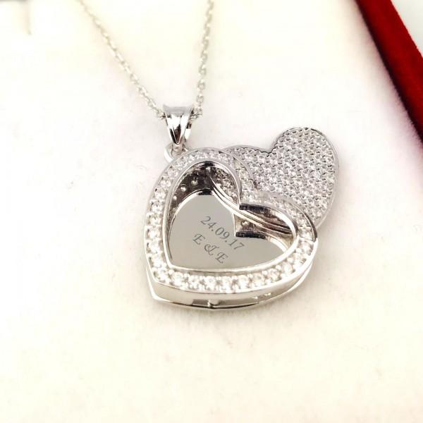 Zirkon Taşlı İsme Kişiye Özel Gümüş Renk Kalpteki Sır Kolye