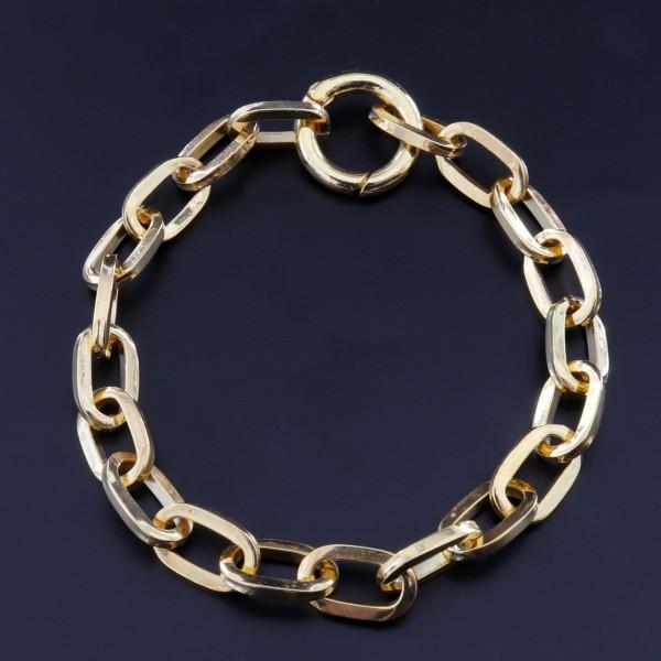 925 Ayar Gümüş Altın Kaplama Geçirmeli Zincir Bileklik