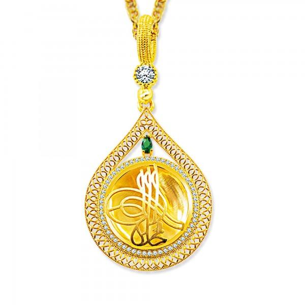 925 Ayar Gümüş altın Kaplama Tuğra Desen Damla Madalyon Kolye