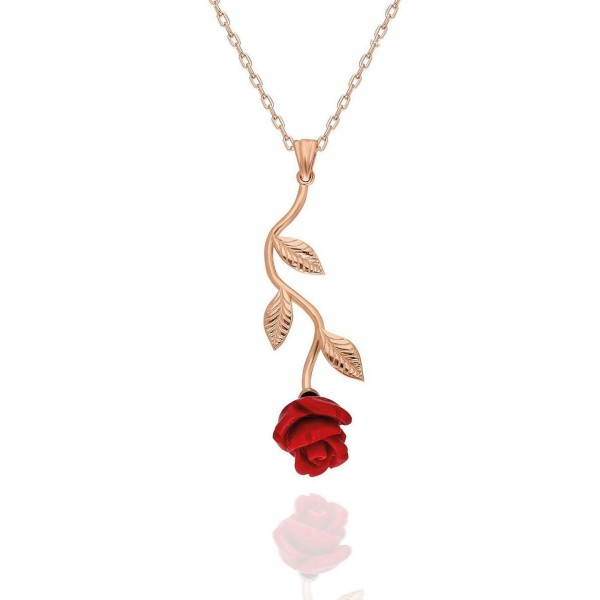 925 Ayar Gümüş Aşkın Simgesi Kırmızı Gül Kolye Sevgiliye Hediye