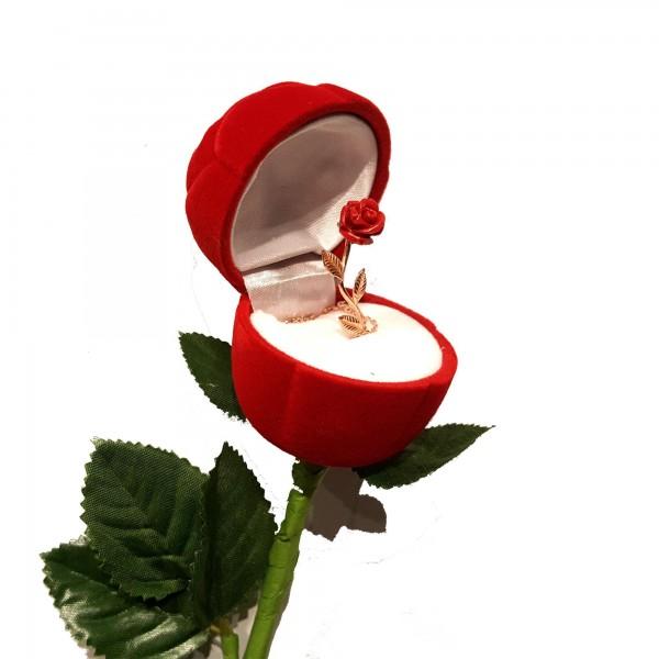 925 Ayar Gümüş Aşkın Simgesi Kırmızı Gül Kutusunda Bayan Kolye