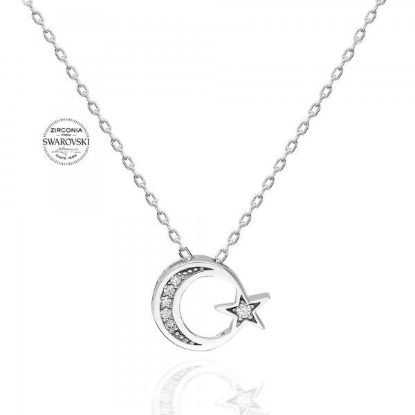 925 Ayar Gümüş Ayyıldız Swarovski Kolye Sertifikalı