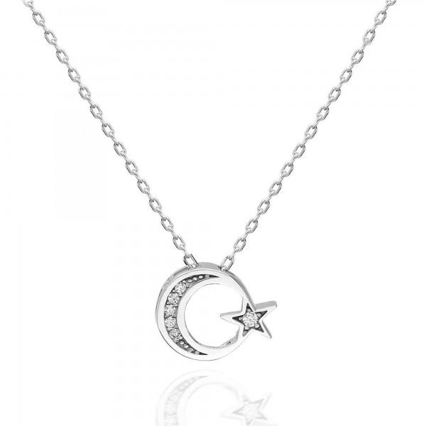 925 Ayar Gümüş Swarovski Taşlı Ayyıldız Kolye Sertifikalı