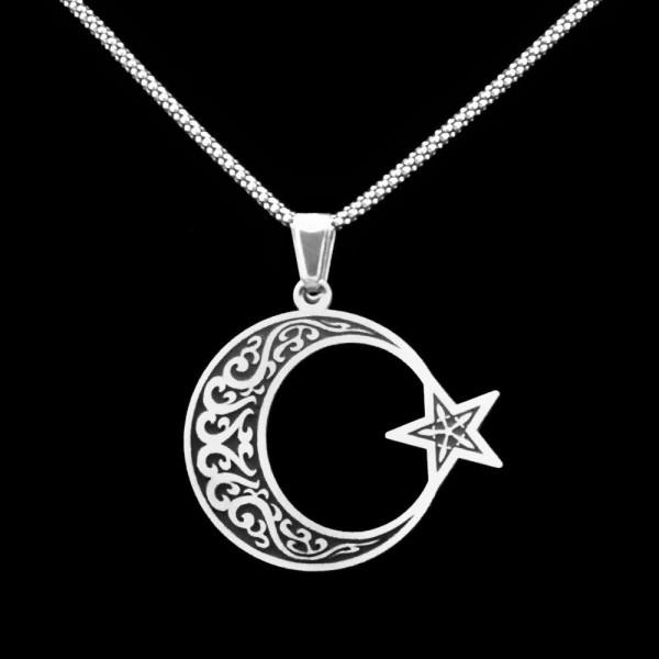 925 Ayar Gümüş İşlemeli Ayyıldız Erkek Kolye