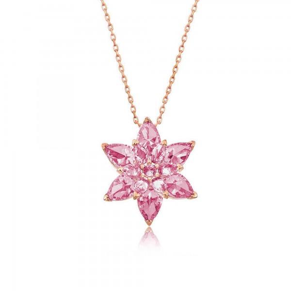 925 Ayar Gümüş Camellia Çiçeği Kolye