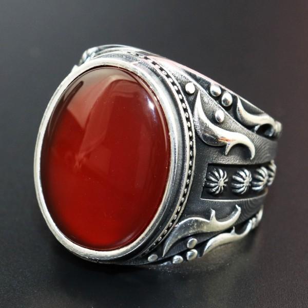 925 Ayar Gümüş Kırmızı Akik Taşlı Erkek Yüzük