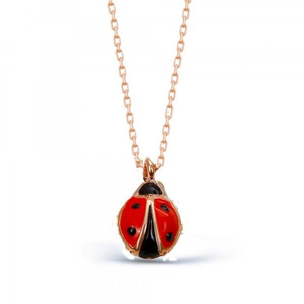 925 ayar Gümüş Mine İşçilikli Mini Uğur Böceği Kolye