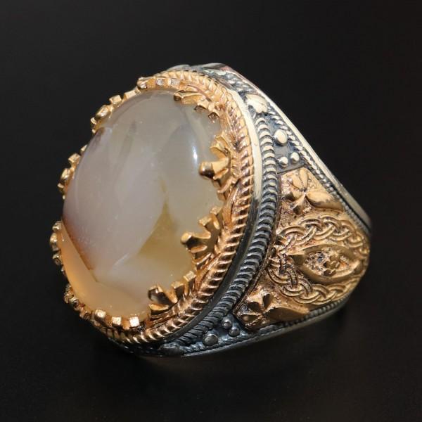 925 Ayar Gümüş Özel Tasarımlı Yemen Akik Taşlı Erkek Yüzük