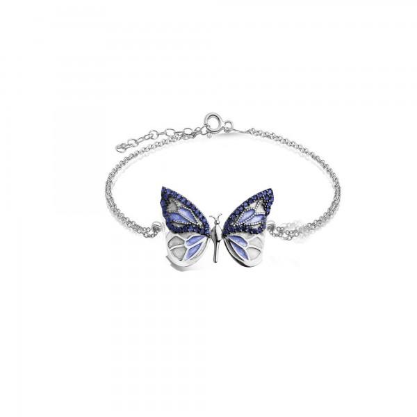 925 Ayar Gümüş Özgür Mavi Kelebek Bileklik + Hediye Kutusunda