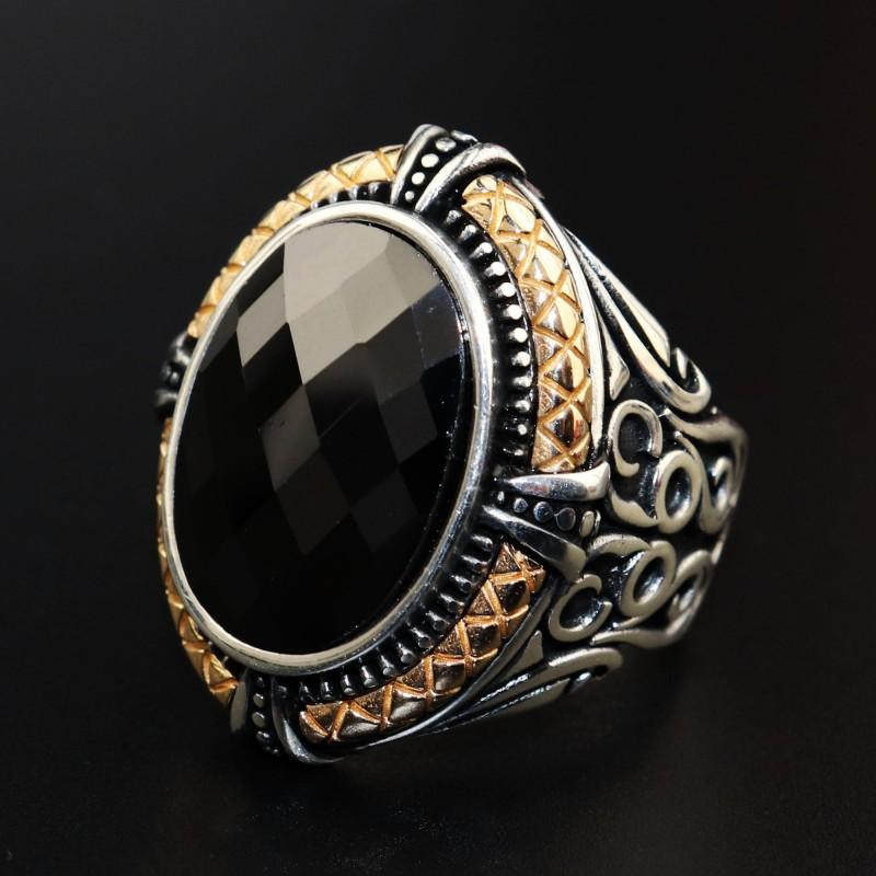 925 Ayar Gümüş Siyah Oniks Taşlı Fasetalı Erkek Yüzük