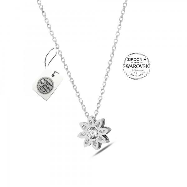 925 ayar Gümüş Swarovski Taşlı Çiçek Kolye * Ser...