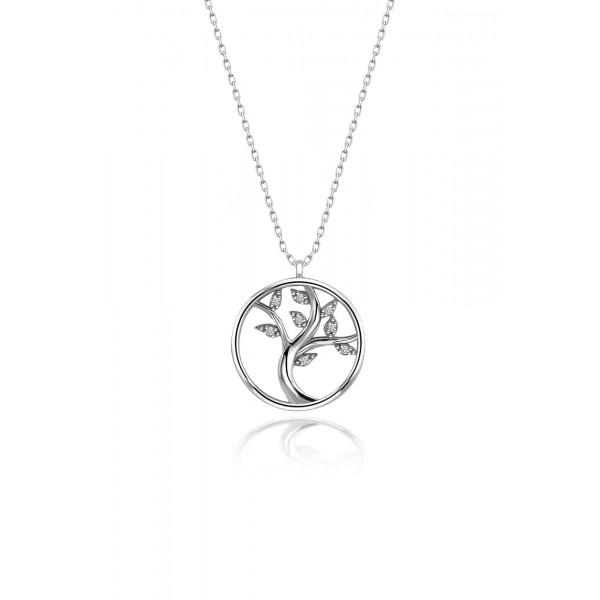 925 ayar Gümüş Swarovski Taşlı Hayat Ağacı Kolye Sertifikalı