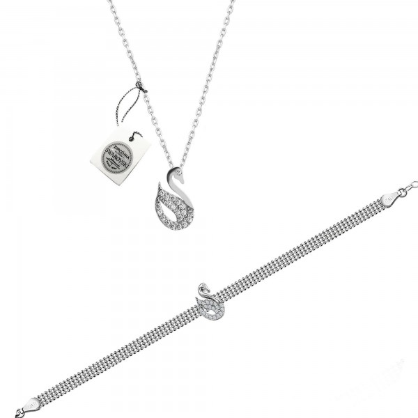 925 Ayar Gümüş Swarovski Kuğu Kolye Bileklik Sertifikalı