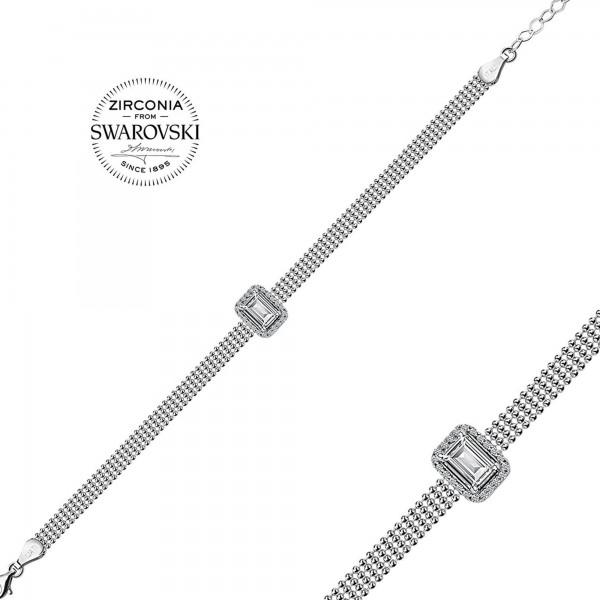 925 ayar gümüş Swarovski Taşlı Baget Tek Taş Bileklik Sertifikalı