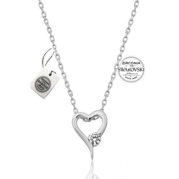 925 Ayar Gümüş Swarovski Taşlı Kalpli Kolye Sertifikalı