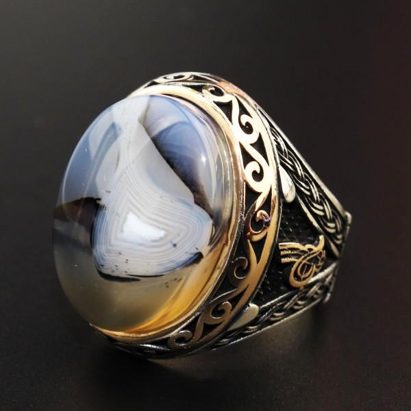 925 Ayar Gümüş Yemen Akik Taşlı Erkek Yüzük