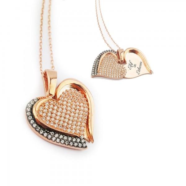 Gümüş Zirkon Taşlı Çift Kullanım Kalp İsme Kişiye Özel Kolye