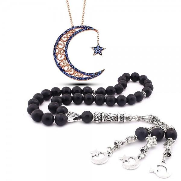 925 Ayar Zirkon Taşlı AyYıldız Kolye ve Ayyıldız İşlemeli Oniks