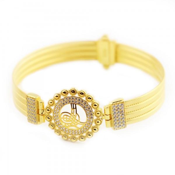 Altın Kaplama Hasır Model Tuğra Gümüş Kelepçe Bileklik