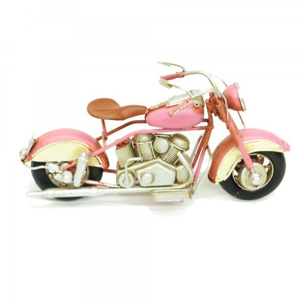 Dekoratif El Yapımı Vintage Metal Pembe Motorsiklet Biblo