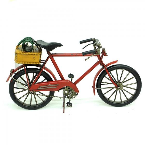Dekoratif Vintage El Yapımı Kırmızı Metal Bisiklet Biblo