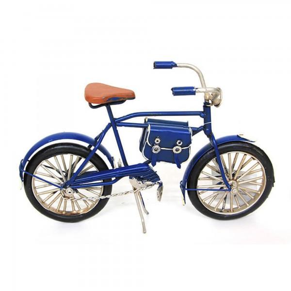 Dekoratif Vintage El Yapımı Lacivert Metal Bisiklet Biblo