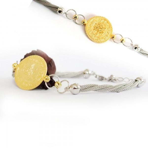 Pigado 925 Ayar Gümüş Altın Kaplama Çeyrek Model Halat Bileklik