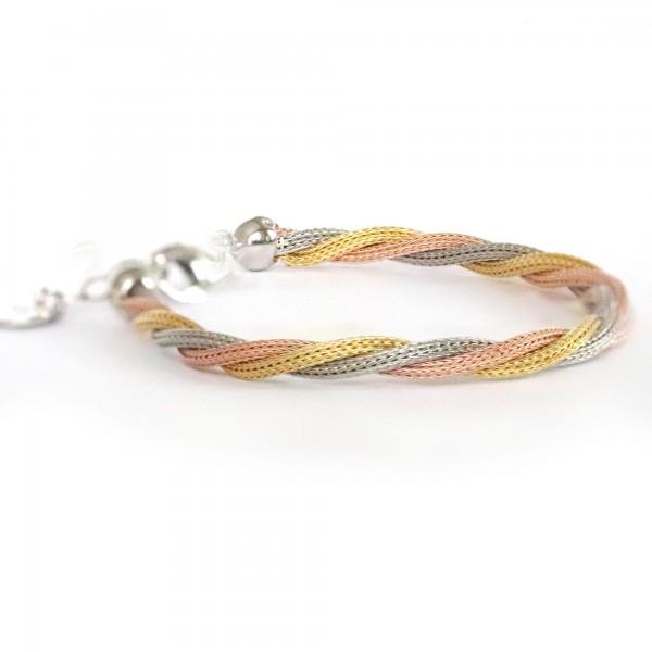 Pigado 925 Ayar Gümüş Üç Renk Sarmal Klasik Halat Bileklik
