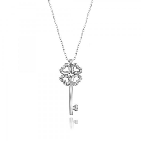 Gümüş Swarovski Taşlı Yonca Kalp Anahtar Kolye Sertifikalı Qr Kod