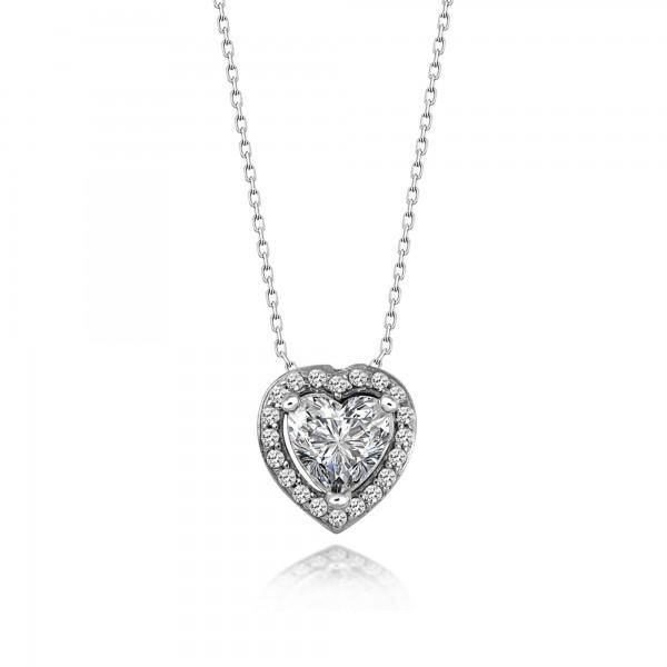 Gümüş Swarovski Taşlı Tek Taş Kalp Kolye Sertifikalı Qr Kod