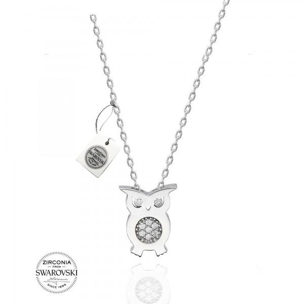 Gümüş Swarovski Zirkon Baykuş Kolye Sertifikalı