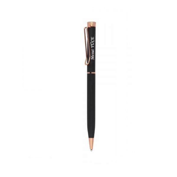İsme Kişiye Özel İnce Tasarım Bronz Siyah Tükenmez Kalem