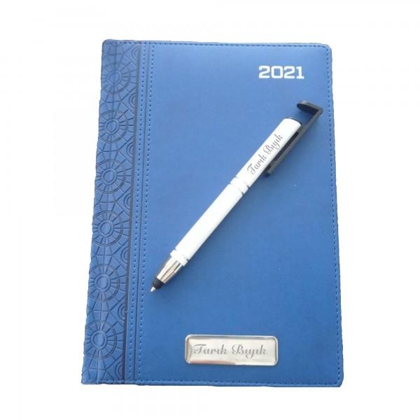 İsme Kişiye Özel 2021 Ajanda ve Telefon Tutucu Roller Kalem Seti
