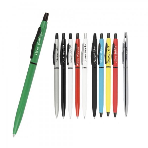 İsme Kişiye Özel Basmalı Mekanizmalı İnce Model Tükenmez Kalem