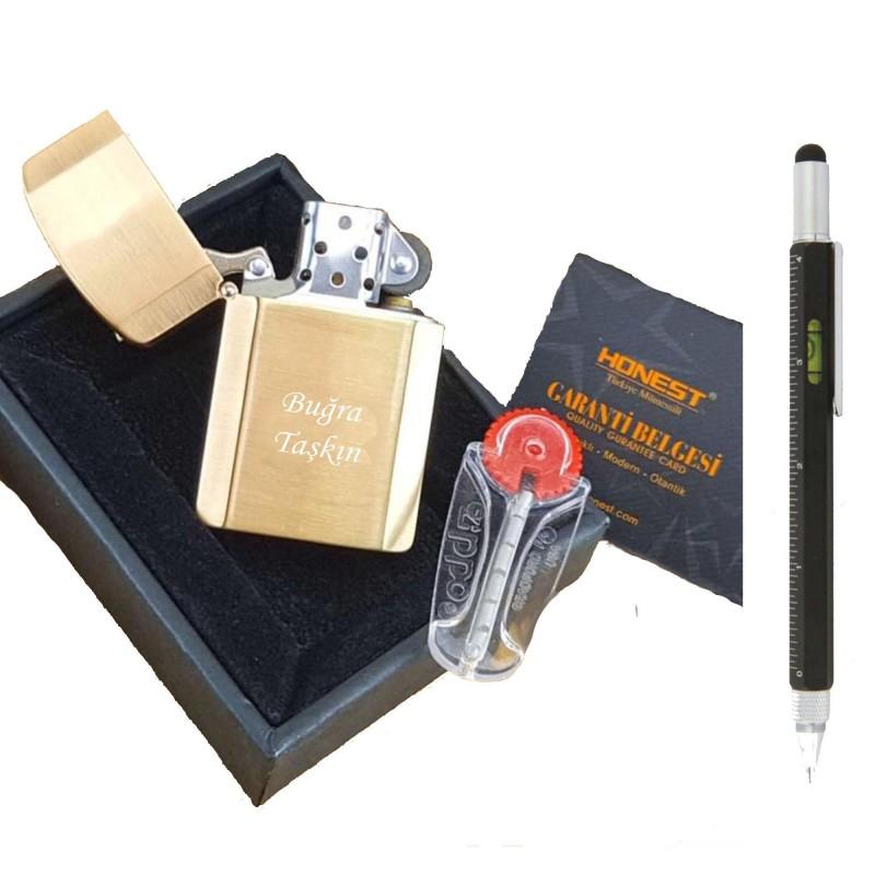 İsme Kişiye Özel Gold Lotus Çakmak Fonksiyonlu Kalem Seti