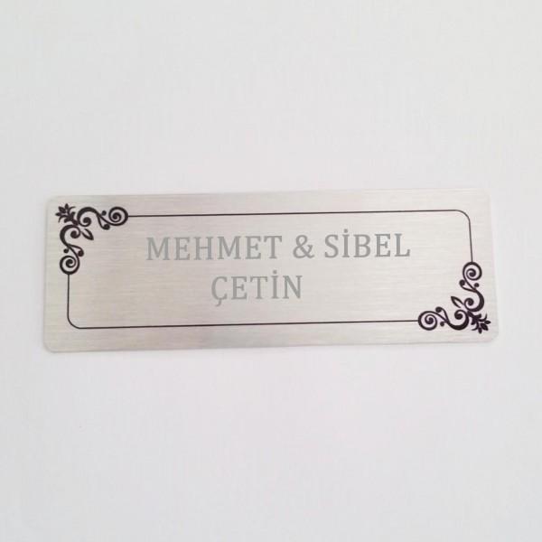 İsme Kişiye Özel Gümüş Renk Kapı Arkası İsimlik